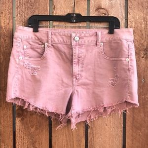 American Eagle - Blush Pink Stretch Jean Shorts 14